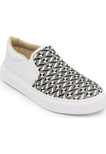 Sapatilha Slip On Ec Shoes Feminina - Feminino-Branco