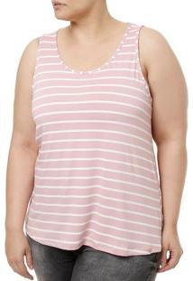 Blusa Regata Plus Size Feminina Lunender Rosa