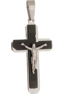 Pingente Crucifixo De Aço Inox Tudo Jóias Pai Nosso De Aço Inox Black