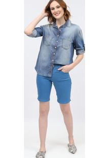 Camisa Jeans Estonada - Azulscalon
