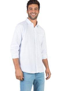 Camisa Xadrez Manga Longa Taco Masculina - Masculino-Branco+Azul Claro