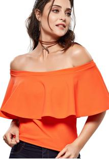 Blusa Modisch Off Shoulders Laranja