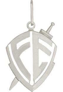 Pingente Prata Mil Prata Escudo Vazado Fé Prata - Kanui