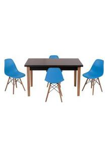 Conjunto Mesa De Jantar Luiza 135Cm Preta Com 4 Cadeiras Eames Eiffel - Turquesa