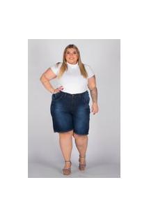 Bermuda Oversize Almaria Plus Size Shyros Jeans Azul