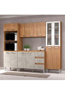 Cozinha Compacta C/Tampo Reflecta01 – Fellicci - Nogal / Concreto