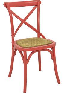 Cadeira Katrina Assento Em Rattan Vermelha - Rivatti