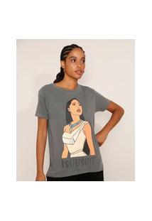 Camiseta Feminina Manga Curta Pocahontas Ampla Decote Redondo Chumbo