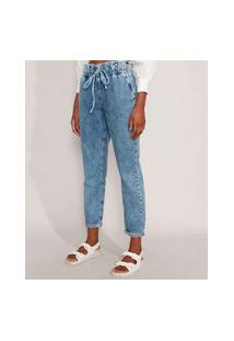 Calça Mom Clochard Jeans Marmorizada Cintura Super Alta Com Cordão Azul Claro