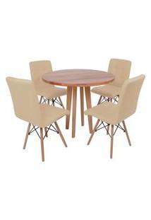 Conjunto Mesa De Jantar Em Madeira 90Cm Com Base Vértice + 4 Cadeiras Gomos - Nude
