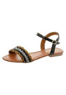 Rasteira Heloize Calçados Sandália Verniz Preta E Colorida - Fechamento Em Fivela Com Elastico Ajustável