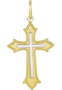 Pingente Prata Mil Cruz Reticulada Com Cruz Lisa Centro Dourado