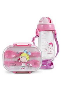 Conjunto Pote Para Lanche E Squeeze Infantil Menina Loira Jacki Design Pequeninos Rosa