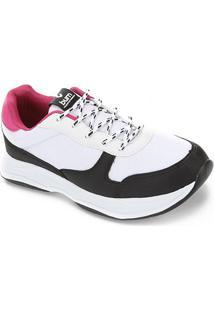 Tênis Burn Chunky Sneaker Feminino - Feminino-Branco+Rosa