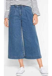 Calça Jeans Pantacourt Azul Médio