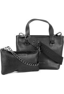 Bolsa Couro Jorge Bischoff Handbag + Mini Bag Feminina - Feminino-Preto