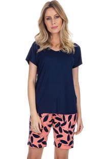 Pijama Com Bermuda Coral Print Azul Marinho