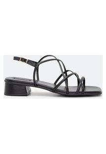 Sandália Tiras Salto Médio Bico Quadrado | Satinato | Preto | 35