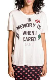 Camiseta Colcci Patches Feminina - Feminino-Off White