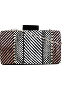 Bolsa Shoestock Clutch Mix Feminina - Feminino-Preto+Off White
