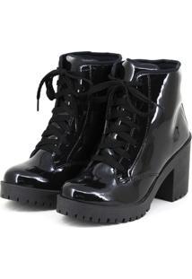 0d554b951 ... Bota Coturno Tratorado Magi Shoes Salto Grosso Verniz Preto
