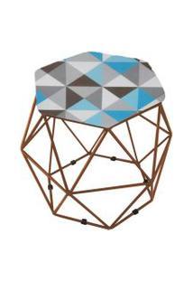 Puff Aramado Bronze Assento Hexagonal Suede Triângulo Azul - Ds Móveis