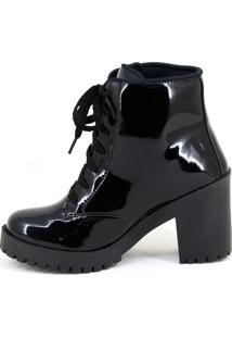 Bota Coturno Sw Shoes Verniz Preto