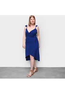 Vestido Naif Plus Size Curto Assimétrico - Feminino-Azul