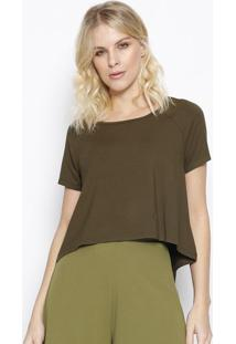 Camiseta Lisa Com Tag- Verde Escuro- Sommersommer