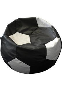 Puff Redondo Big Ball Futebol Cipaflex Preto/Branco - Stay Puff
