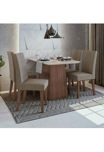 Conjunto Sala De Jantar Mesa Vidro/Mdf E 4 Cadeiras Rock Móveis Lopas Imbuia Naturale/Suede Animale Bege