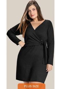Vestido Transpassado Plus Size Preto