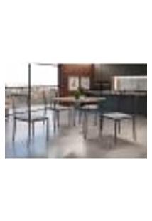 Conjunto De Mesa De Jantar Grécia Com Tampo Mocaccino E 4 Cadeiras Atos Linho Bege E Grafite