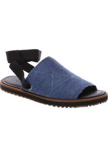 Sandália Rasteira Jeans Com Velcro- Azul & Pretafiever