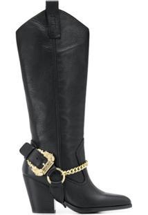 Versace Jeans Couture Bota Cowgirl Bico Fino - Preto