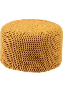 Puff Pastilha Crochê Mostarda