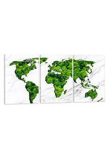Quadro Oppen House Mapa Mundi Verde Árvores 60X120Cm Decoraçáo Escritórios Salas Empresas