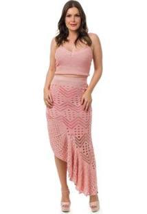 f37f1a0f64 ... Conjunto Pink Tricot Saia Longa Espanhola Cropped Alças Feminino -  Feminino-Rosa Claro