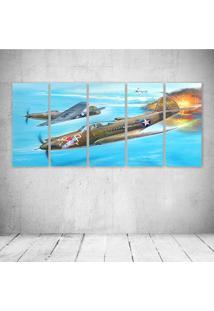 Quadro Decorativo - War Airplane (2) - Composto De 5 Quadros - Multicolorido - Dafiti