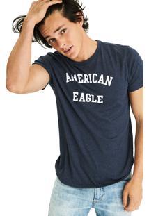 Camiseta Manga Curta American Eagle Gráfica Azul Marinho