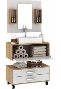 Conjunto Para Banheiro 1 Espelheira E Cuba Com Nichos Gabinete Suspenso E Gaveteiro Siena Móveis