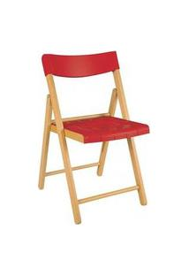 Cadeira Tramontina Potenza Madeira Tauari Tabaco Com Vermelho Vermelho