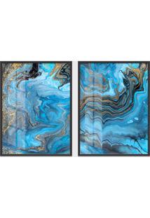 Quadro 65X90Cm Abstrato Orlando Moldura Preta Sem Vidro Decorativo Interiores