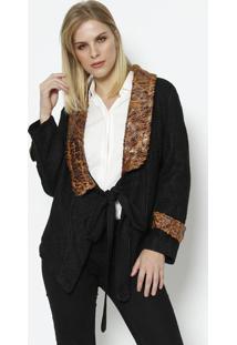 Casaco Com Lã & Amarração- Preto & Marrom- Cotton Cocotton Colors Extra