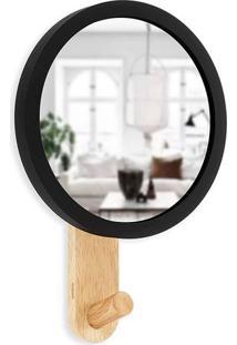 Espelho Com Moldura Hub Natural 21 X 15 Cm Preto Umbra