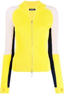 J.Lindeberg Cardigan Color Block Com Zíper - Amarelo