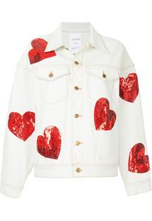 Ashish Jaqueta Jeans Com Paetês - Branco