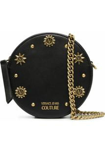 Versace Jeans Couture Clutch Redonda Com Corrente E Tachas - Preto