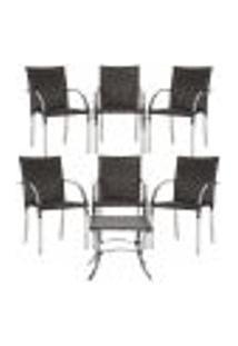 Jogo Cadeiras 6Un E Mesa De Centro Madri Para Edicula Jardim Area Varanda Descanso - Tabaco