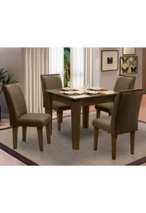 Sala De Jantar Saint Michel Com 4 Cadeiras – Dobuê Movelaria - Castanho / Bege / Cacau